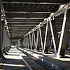 37493840 - interior of metal bridge in the day. kiev, ukraine